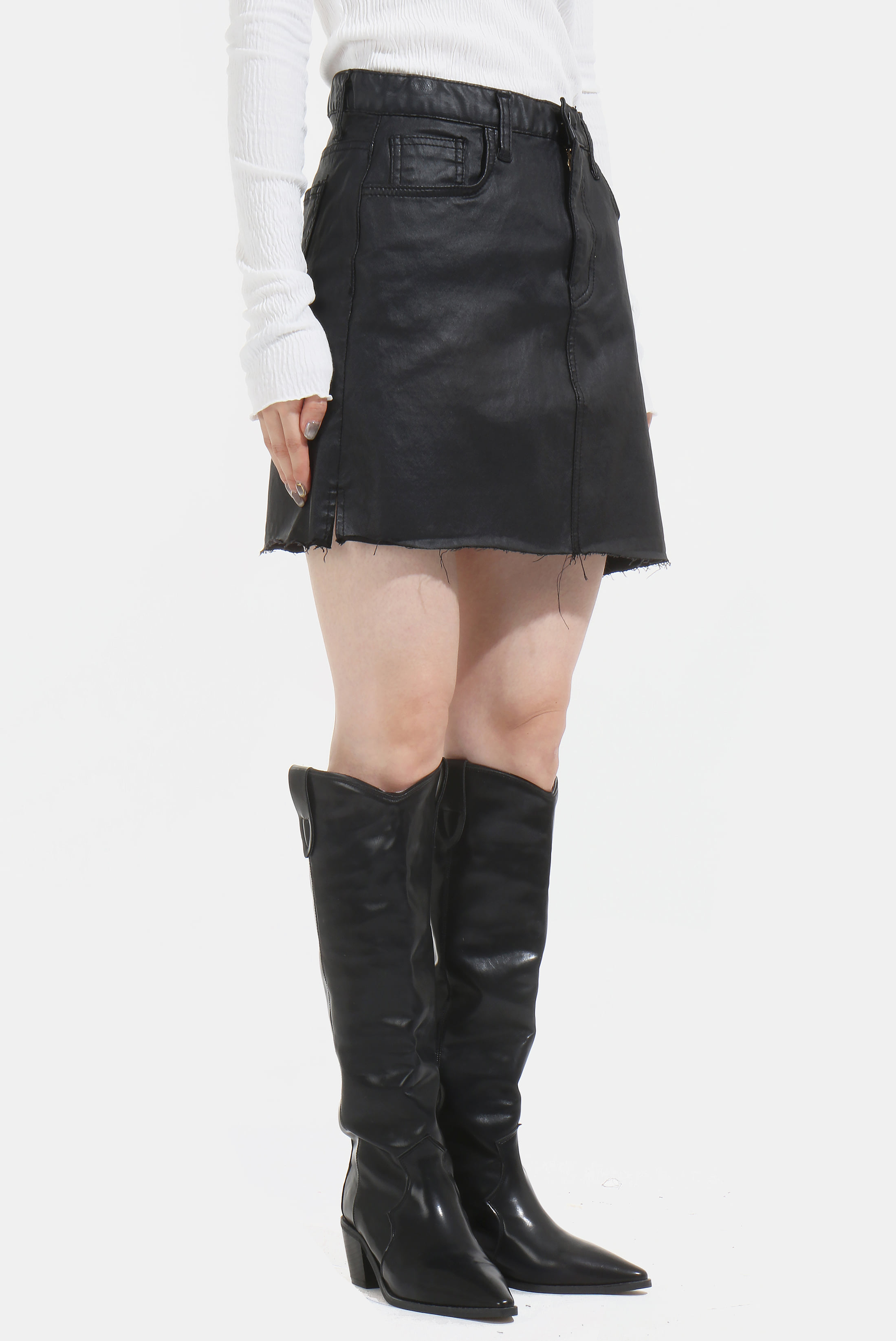 (W) Cottied Raw_Edge Skirt